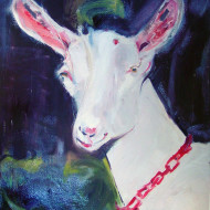 Portrait in oil of favorite dairy goat Solvang